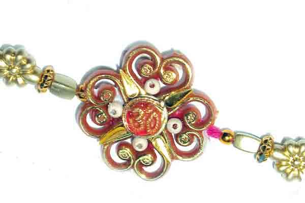 Zardosi Flower Om Rakhi