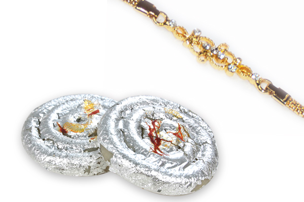 Golden Braclet Rakhi and Kaju Jalebi