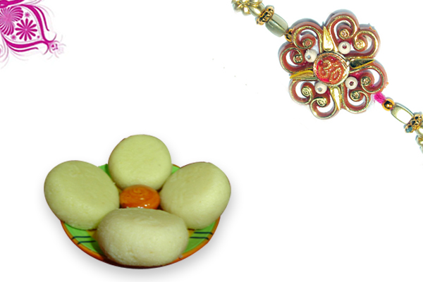 Zardoshi Flower Om Rakhi and Malai Penda